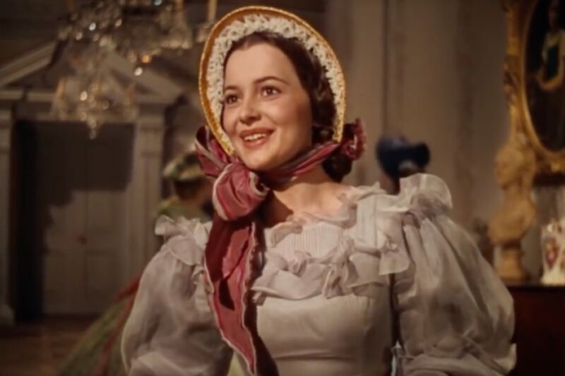 Olivia de Havilland—pictured here as Melanie Hamliton in the 1939 Oscar-Winning film <em>Gone with the Wind</em>—successfully sued Warner Bros. in 1943 to free herself from her studio contract. The groundbreaking lawsuit contributed to the breakup of the Hollywood studio system.