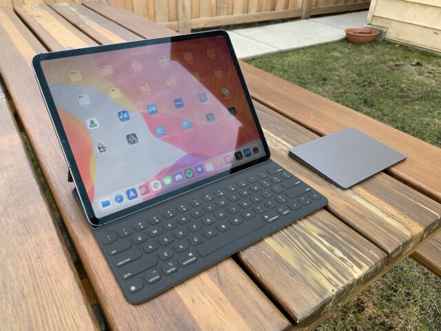The 12.9-inch 2020 iPad Pro with the Smart Keyboard and Magic Trackpad peripherals.