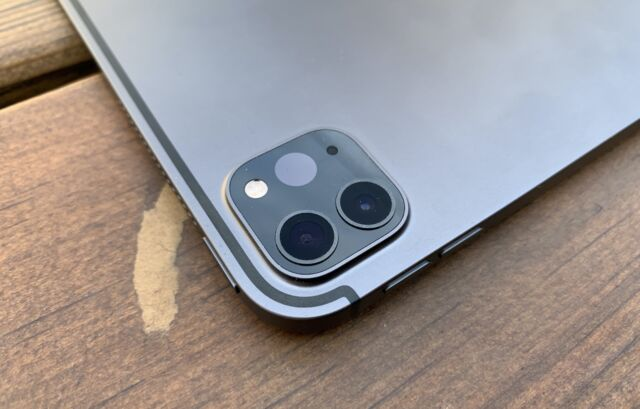 The 2020 iPad Pro's rear camera and sensor bump.