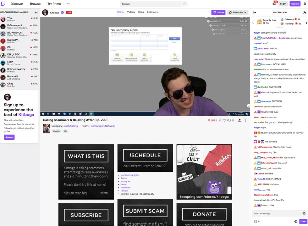Kitboga's Twitch page.
