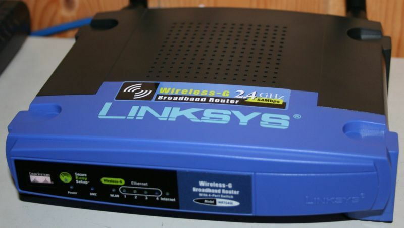 Photograph of a Linksys router.