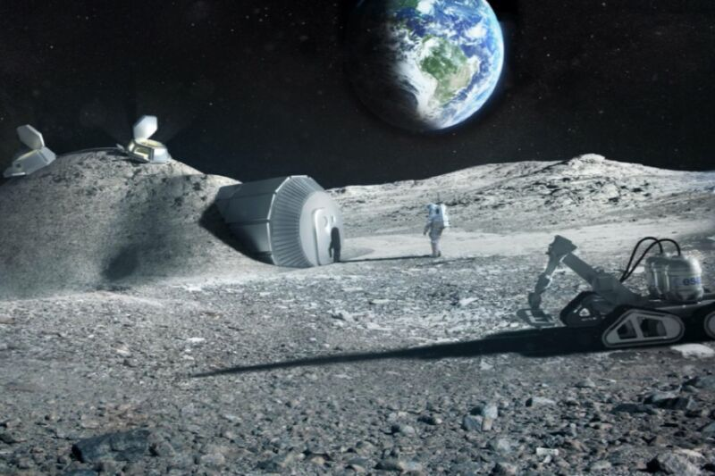 Artist's conception of a lunar habitat.