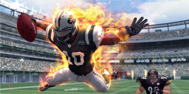 <em>NFL Blitz</em>'s fiery players are definitely not a simulation of real football. Short of that, though, the line gets fuzzy.