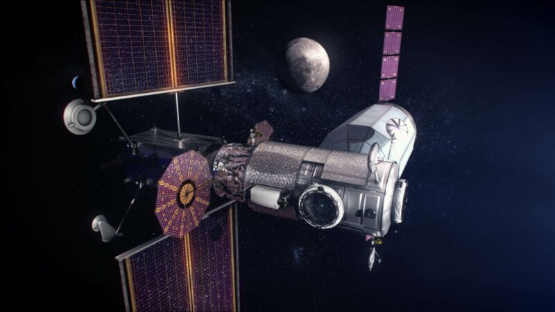 Artist's concept of initial configuration of the Lunar Gateway.