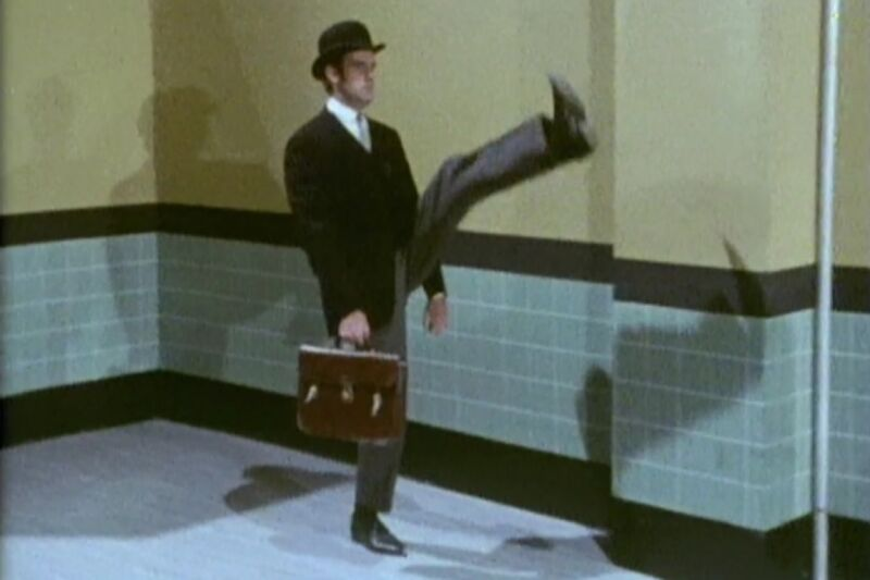 John Cleese's famously silly walk from a 1970 episode of <em>Monty Python's Flying Circus</em>.