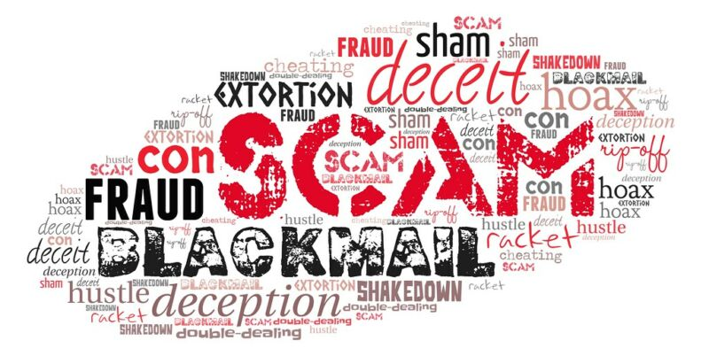 A collage of negative words including scam, deceit, and blackmail.