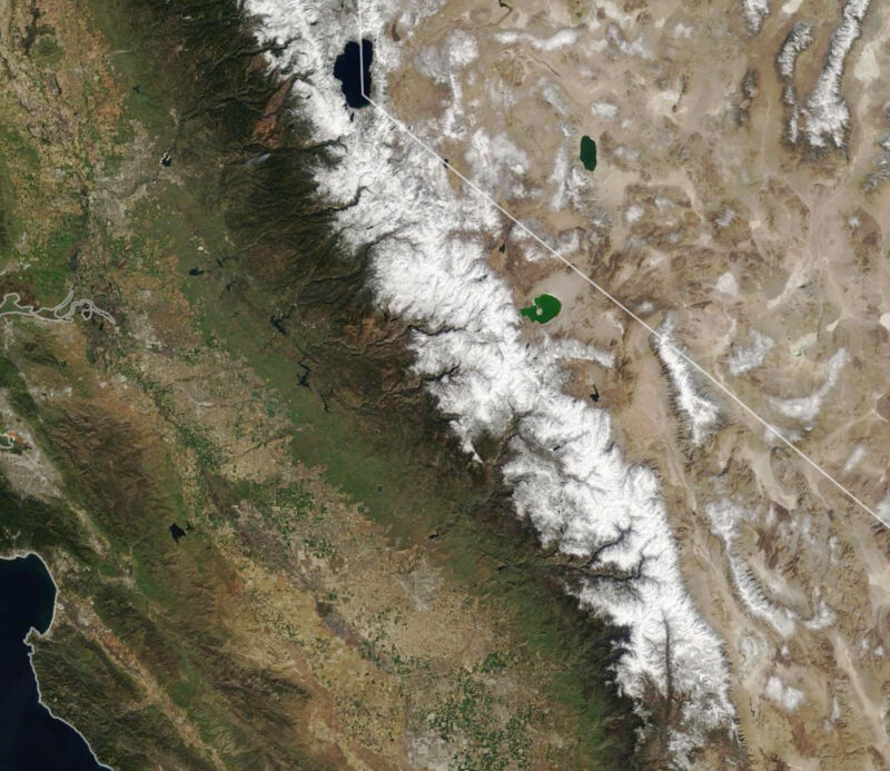 Below-average snowpack in the Sierra Nevada on March 3.
