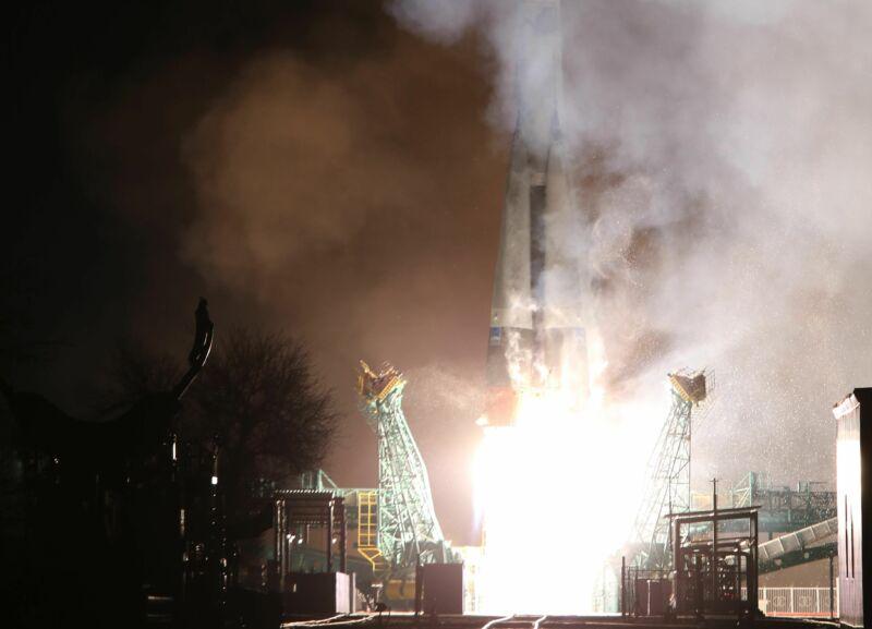 A Soyuz rocket launches Saturday carrying nearly three dozen satellites into orbit.