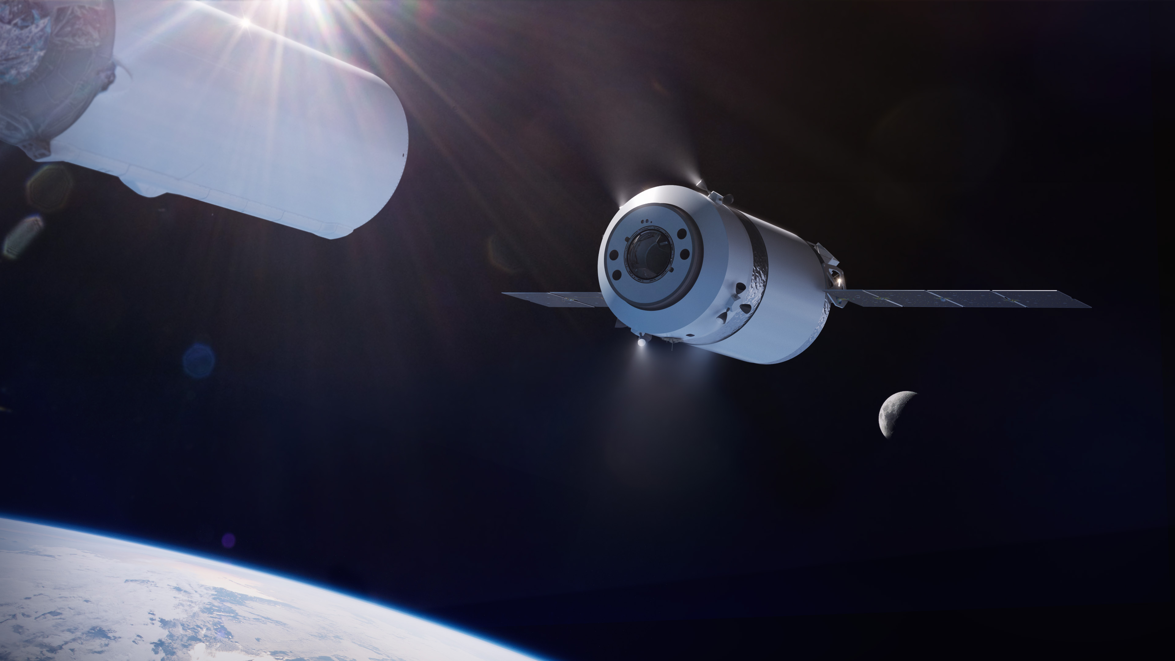 Illustration of the SpaceX Dragon XL as it is deployed from the Falcon Heavy's second stage in high Earth orbit on its way to the Gateway in lunar orbit.