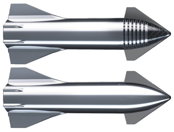 Starship comes in two flavors, crewed (top) and cargo (bottom).