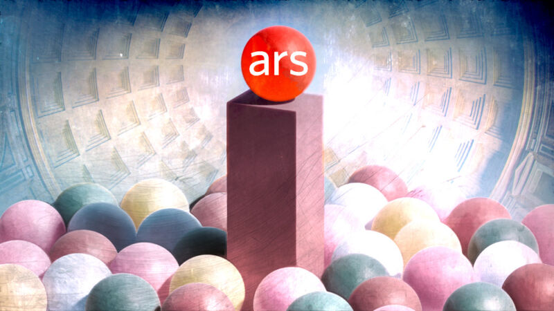 The Ars Technica logo sits on a pedestal above other blank logos.