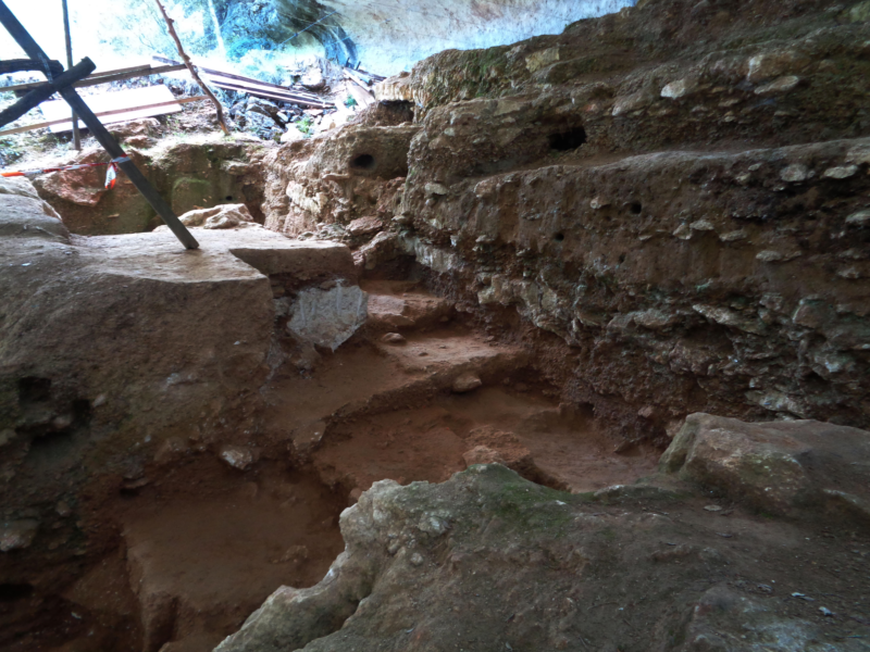 Color photo of excavation site from inside the excavation pit