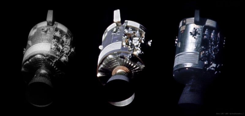 Comparison of the damaged service module of Apollo 13. At left, the familiar image. At center: a stack of eight frames of 16mm film. At right, a high resolution scan of the original transparency.