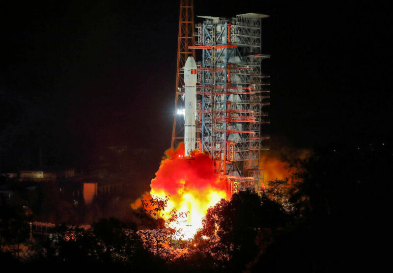 A Long March 3B rocket lifts off from the Xichang Satellite Launch Center in 2018.