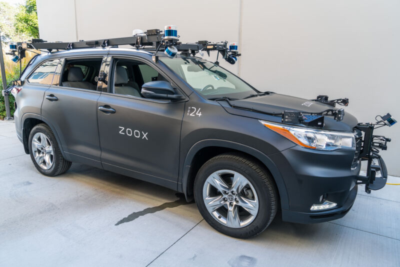 A Zoox self-driving car prototype in 2019. Zoox is using modified conventional vehicles like this one to test its self-driving software. But Zoox is planning to design its own vehicle for its eventual taxi service.