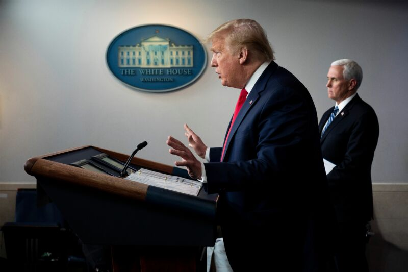 US President Donald Trump (L), flanked by US Vice President Mike Pence, speaks during the daily briefing on the novel coronavirus, which causes COVID-19, in the Brady Briefing Room at the White House on April 9, 2020, in Washington, DC.