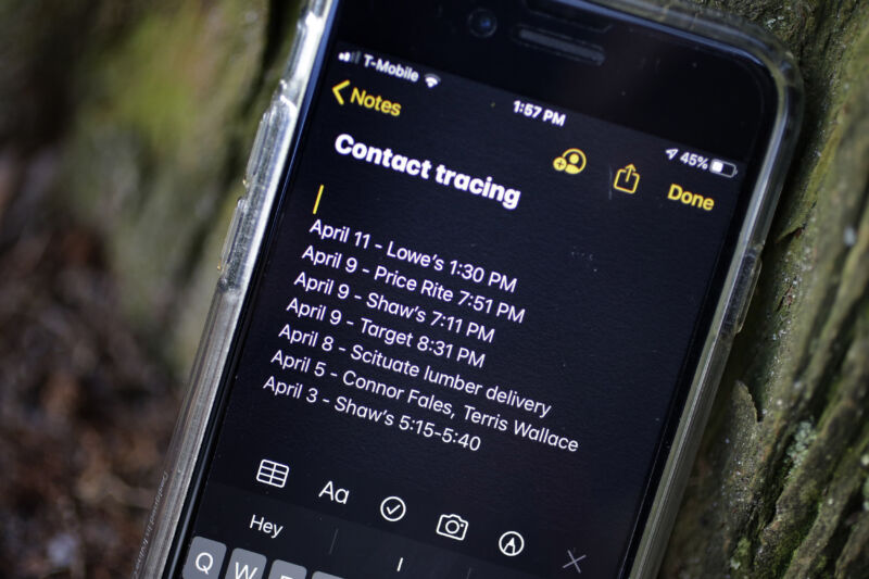 A smartphone belonging to a resident of Cranston, R.I., shows personal notes he made for contact tracing Wednesday, April 15, 2020.