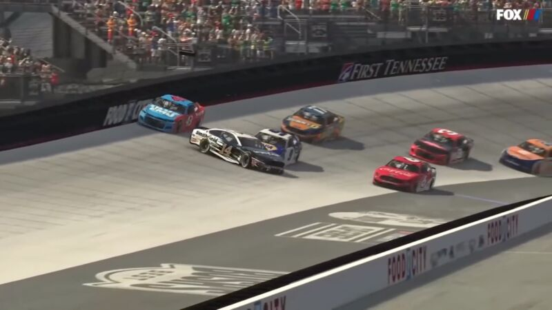 """When Bubba Wallace (top left, #43 car) got into a wreck with Clint Boyer (middle, #14 car) during an <em>iRacing</em> event on Sunday night, he rage-quit after respawning in the pit lane.""""><figcaption class="""