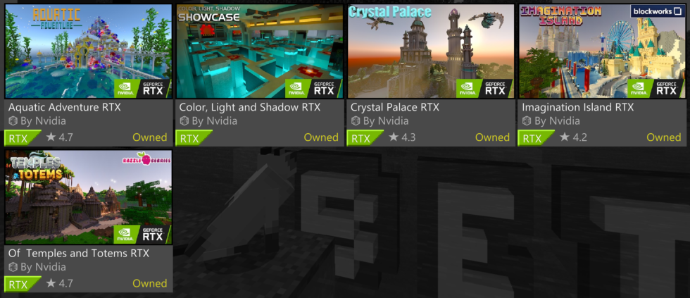 The five worlds that ship with <em>Minecraft RTX Beta</em>.