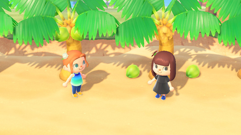 Even a fierce battle over scarce resources looks cheerful and amicable in <em>Animal Crossing</em>. (Especially when neither player has learned reactions yet.)