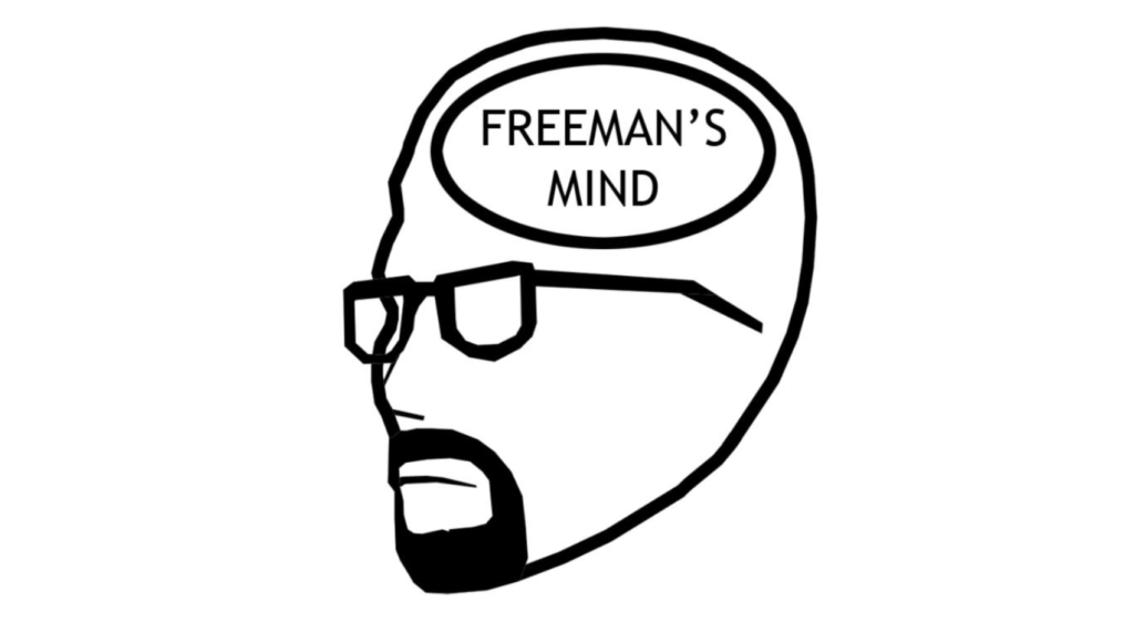 The title card for Accursed Farm's infamous <em>Freeman's Mind</em> series.