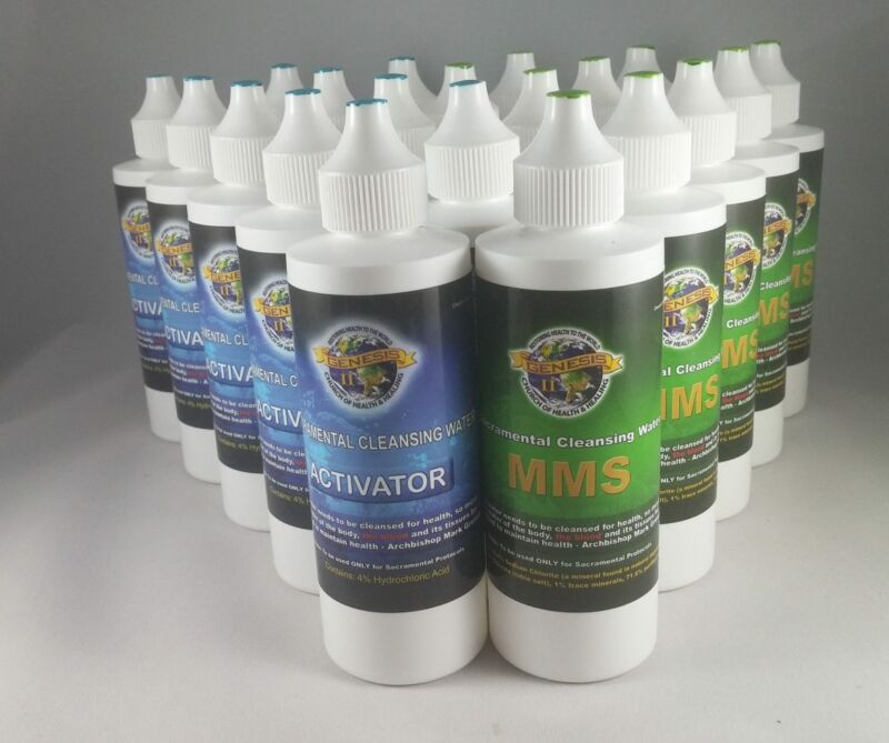 Bottles of MMS, a bleach product sold by Genesis II Church of Health and Healing.