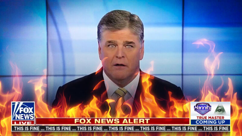 A photoshopped screenshot from Fox News shows Sean Hannity on fire.