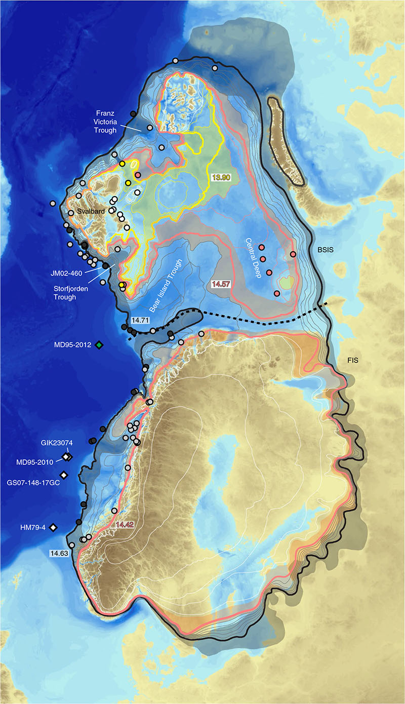 Previous extent of ice sheet with ages labeled in thousands of years.