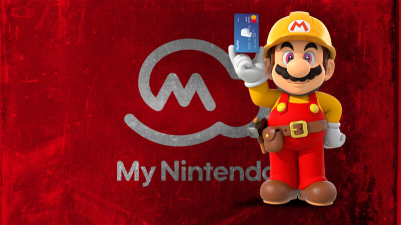 Video game plumber Mario stands in front of My Nintendo logo.
