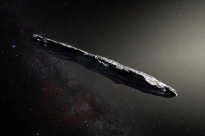 An artist's impression of 'Oumuamua. A new study based on computer simulations offers a comprehensive theory for how it formed and where it came from, that accounts for the interstellar object's odd characteristics.