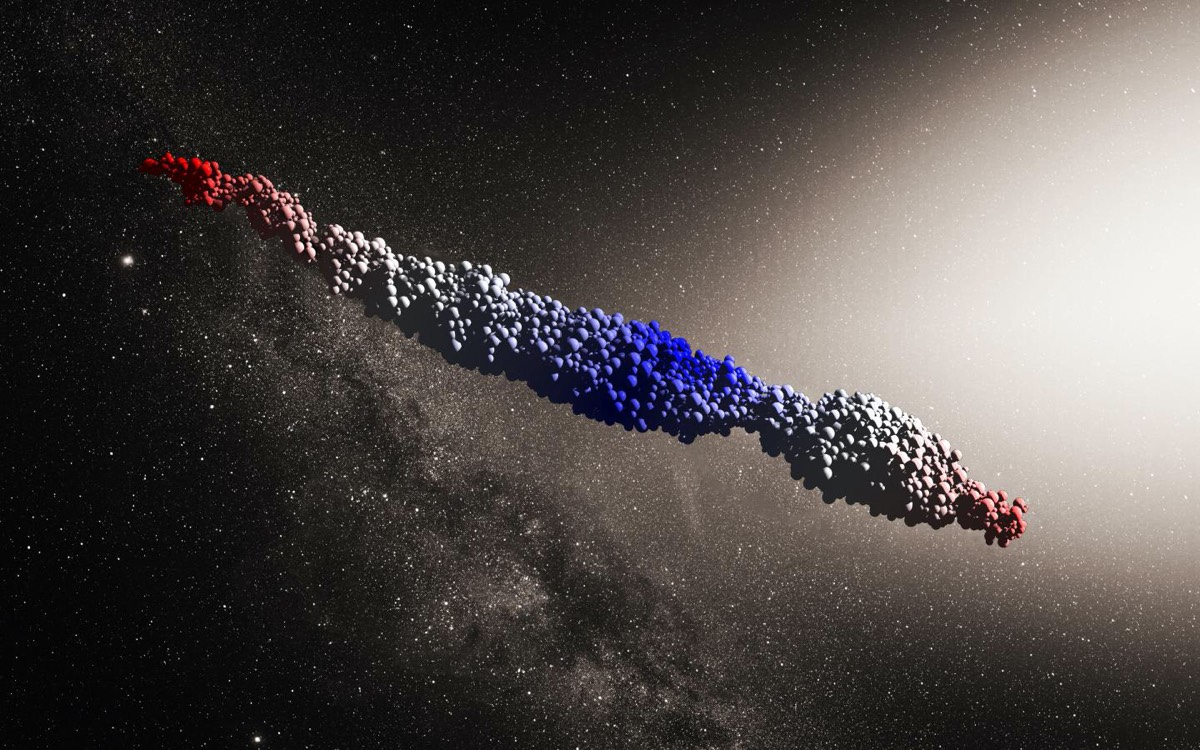 An 'Oumuamua-like object produced by a simulation of the tidal disruption scenario proposed by Zhang and Lin.