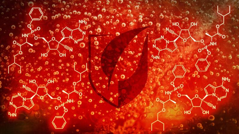 Gilead logo amidst chemical equations.