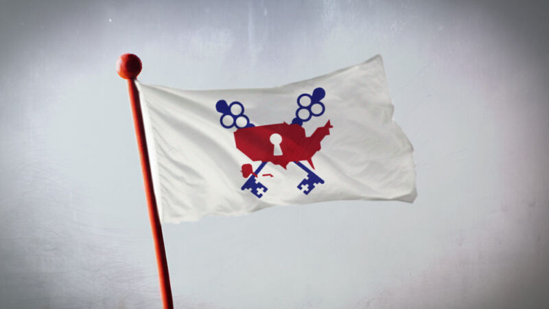 A flag with an illustration of a United States map under lock and key.