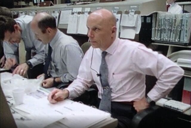 Astronaut Story Musgrave is seen here, working as CapCom during the STS-31 mission.