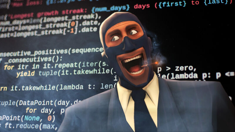 A gleeful video game character stands in front of huge screen of programming code.