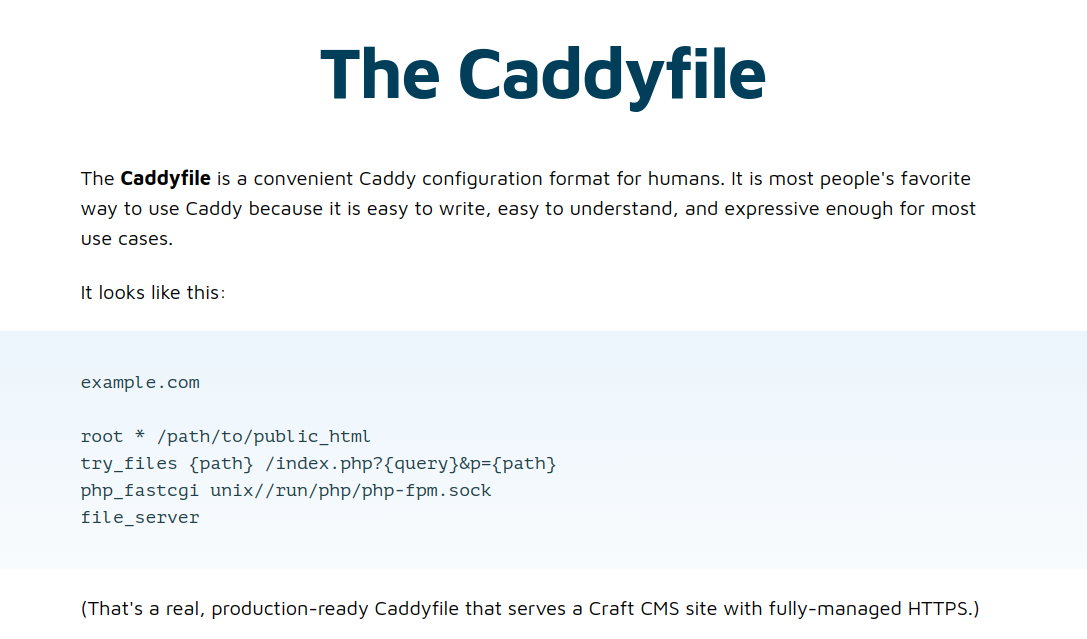 There's a noob trap lurking in this sample Caddyfile—that try_files directive is unnecessary for most sites, and caused our WordPress redirect loop.