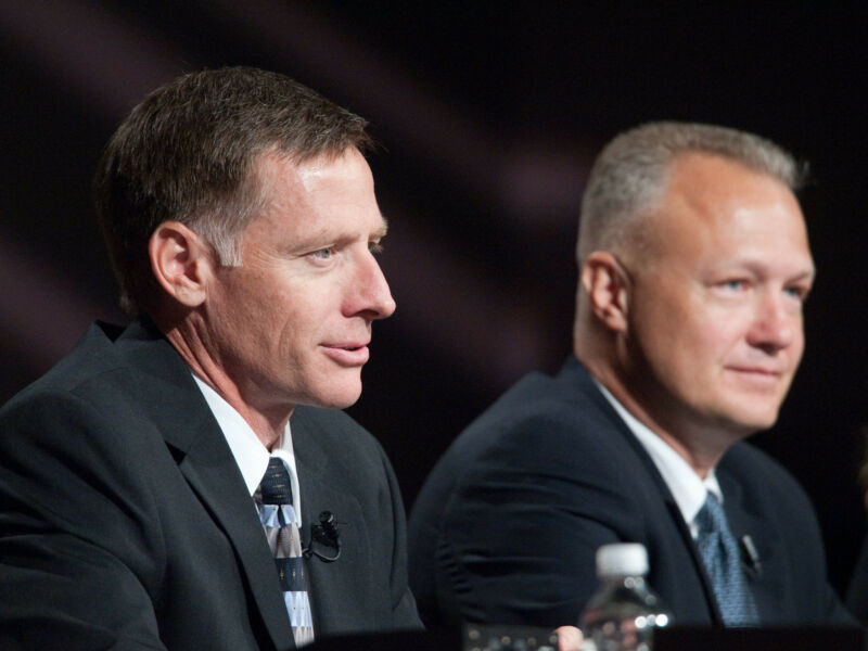 NASA astronauts Chris Ferguson (left), STS-135 commander; and Doug Hurley, pilot, at a 2011 news conference.