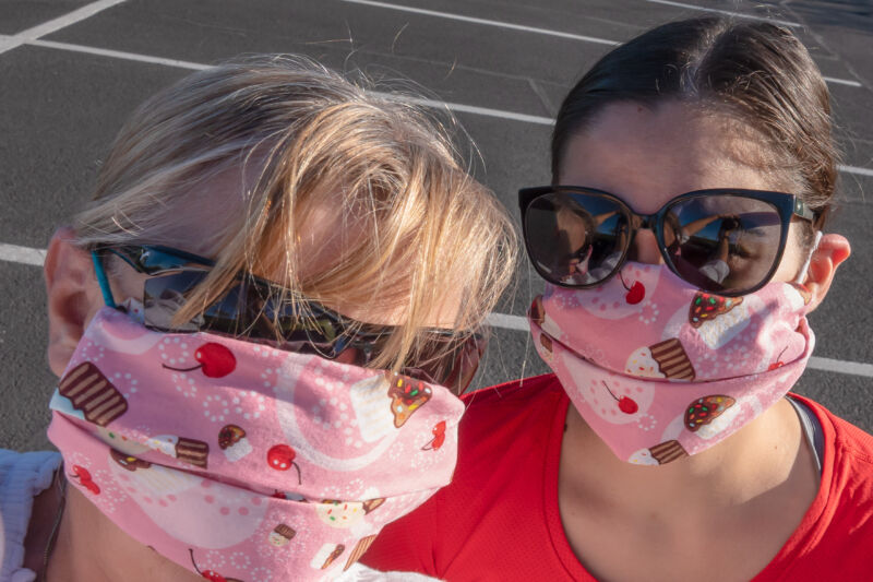 Two women in matching face masks.