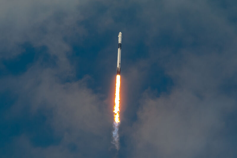 The Falcon 9 rocket climbs to space on Saturday.