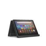 This Fire HD 8 Plus is resting in the optional made-for-Amazon wireless charging dock.
