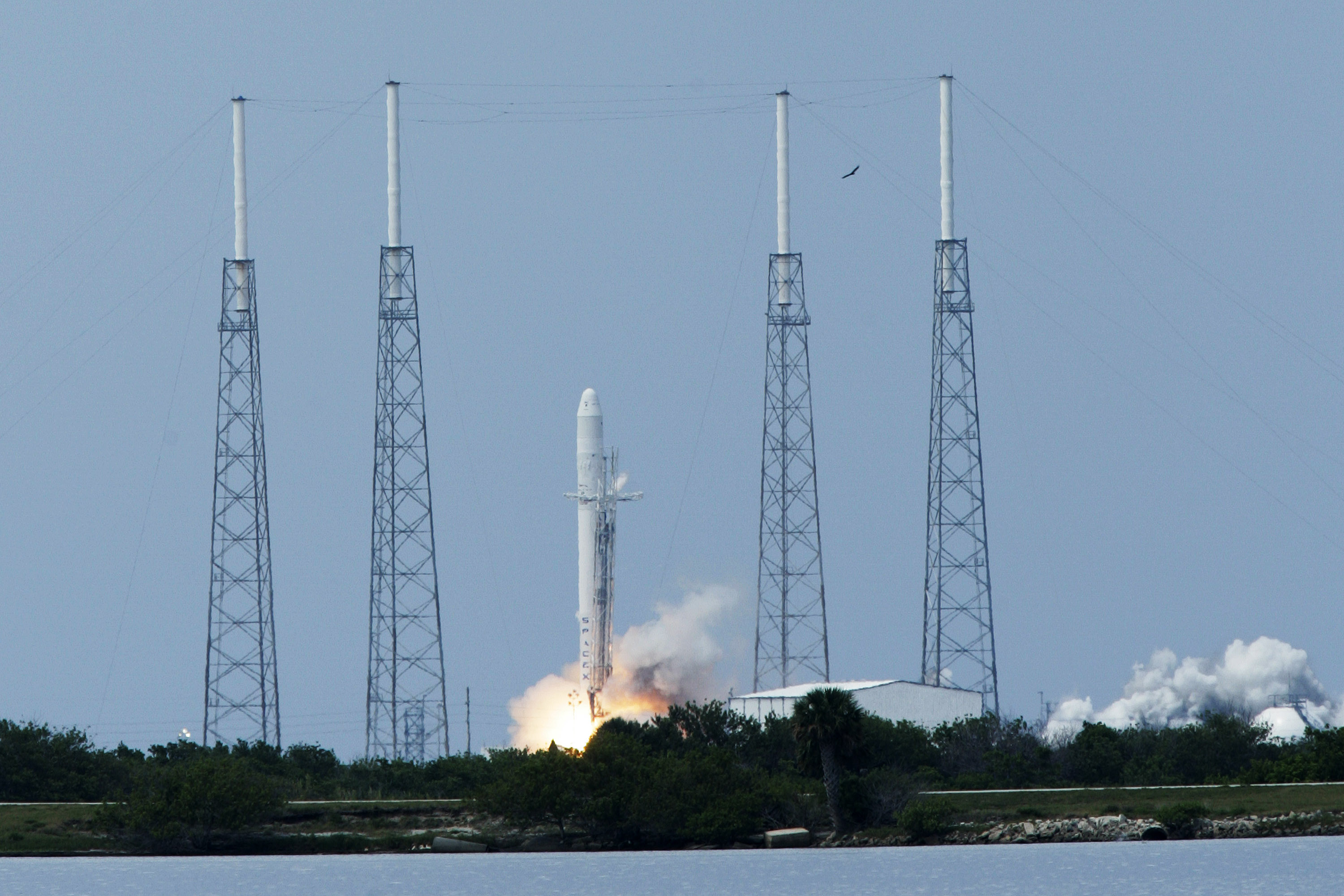 A shot of the Falcon 9 rocket at liftoff on June 4, 2010.