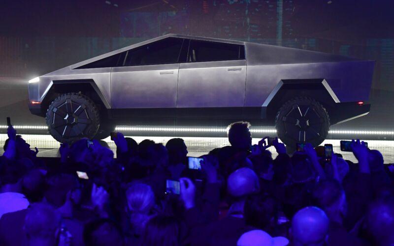 Tesla's Cybertruck at its November 2019 unveiling.