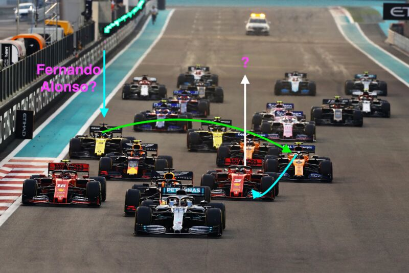 Lewis Hamilton of Great Britain driving the (44) Mercedes AMG Petronas F1 Team Mercedes W10 leads the field at the start during the F1 Grand Prix of Abu Dhabi at Yas Marina Circuit on December 01, 2019 in Abu Dhabi, United Arab Emirates.