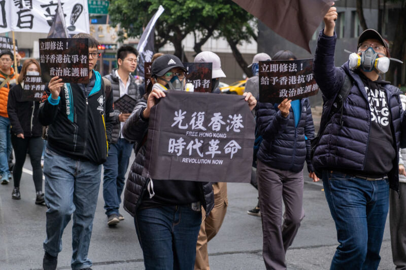 Protesters in Taipei, Taiwan, demonstrate for granting political asylum to Hong Kongers in January 2020.