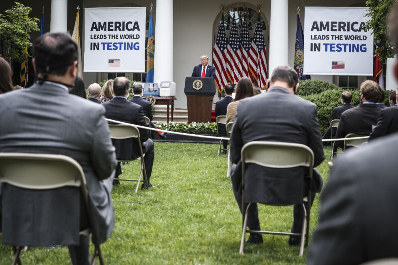 Donald Trump speaks at a Rose Garden press briefing on Monday, May 11.