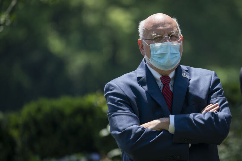 Dr. Robert Redfield, director of the Centers for Disease Control and Prevention (CDC), attends an event about coronavirus vaccine development in the Rose Garden of the White House on May 15, 2020 in Washington, DC.