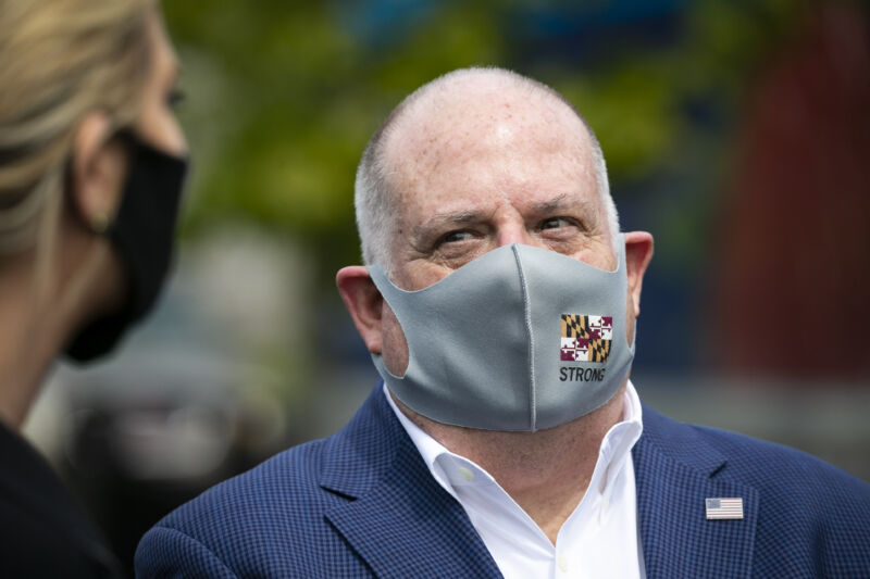 Larry Hogan, governor of Maryland, wears a protective mask while talking to Ivanka Trump, senior adviser to US President Donald Trump, during a tour of the distribution center of Coastal Sunbelt Produce in Laurel, Maryland, US, on Friday, May 15, 2020.
