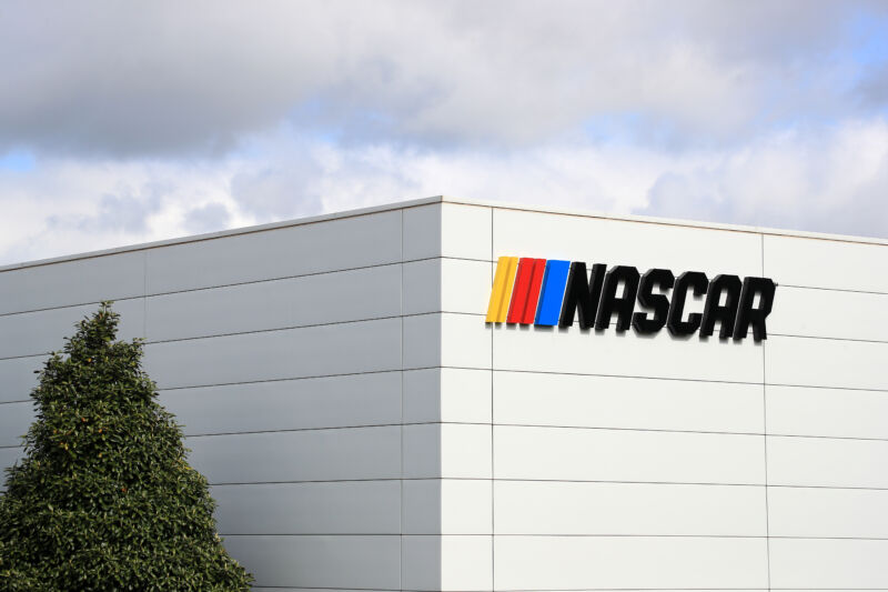 A NASCAR sign is seen during the coronavirus (COVID-19) pandemic on April 24, 2020 in Charlotte, North Carolina.