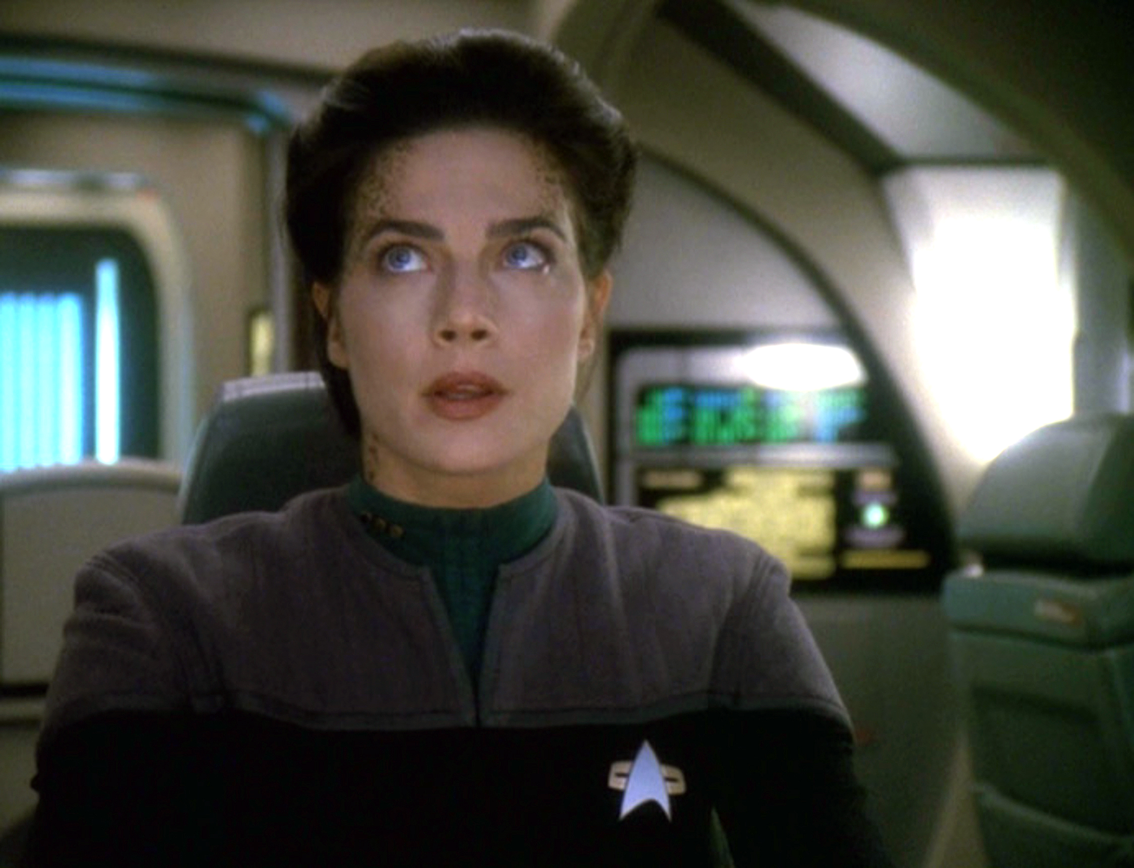 "Terry Farrell as Jadzia Dax in the season six episode, ""One Little Ship."" If you're wondering, no, this article does not compare our modern world's pandemic with this episode's Rubicon shrinking to microscopic size."
