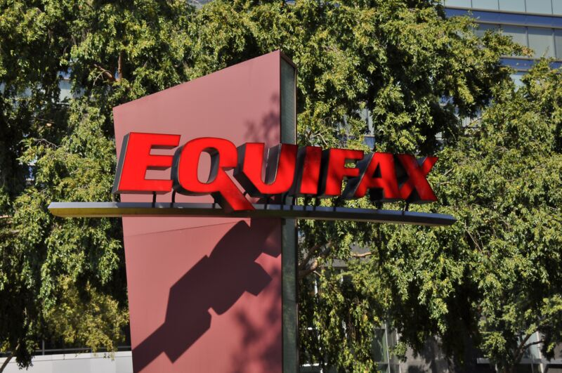 Equifax corporate logo on an outdoor sign.